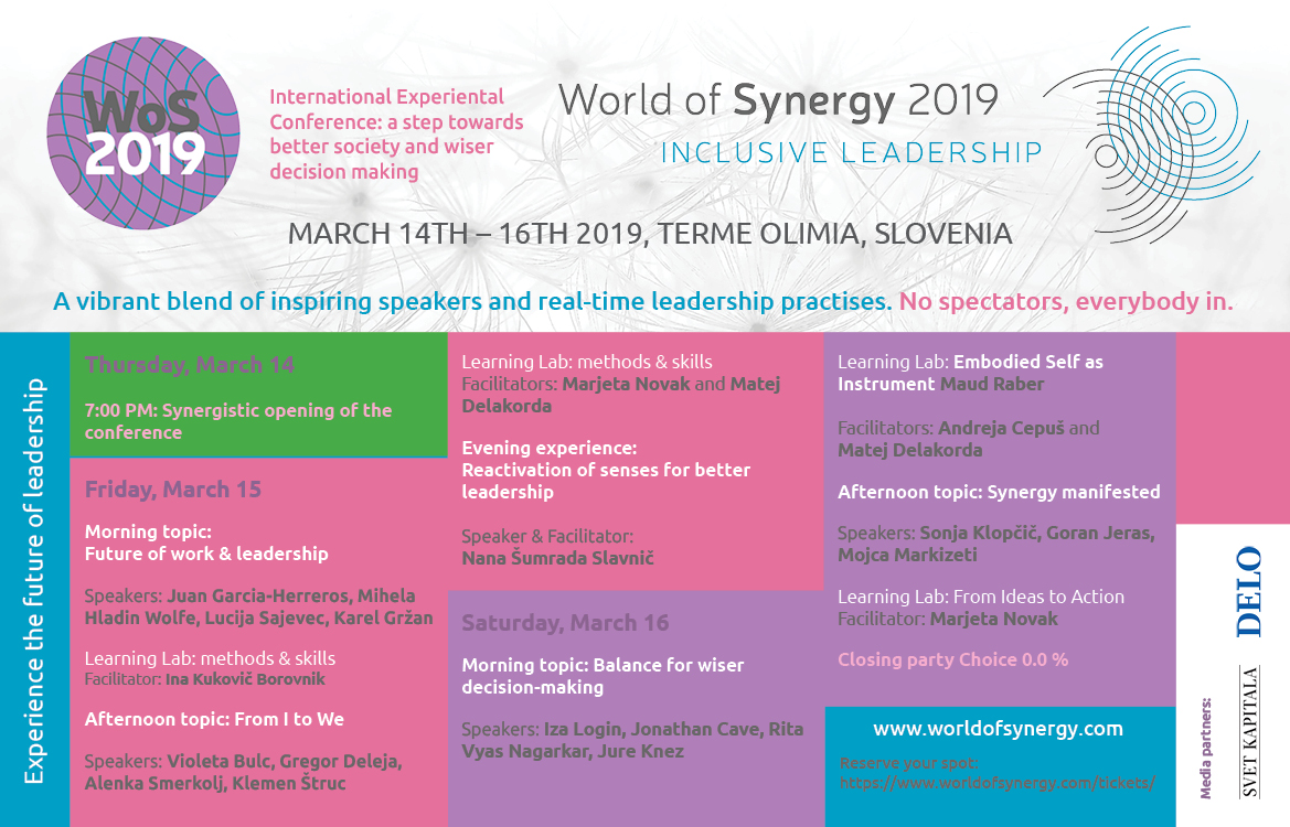 The program for the World of Synergy Conference in sLOVEnia is out
